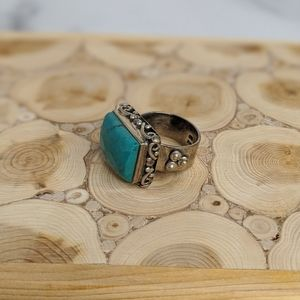 Jewelry - Sterling silver & blue natural stone wide ring